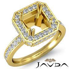 Diamond Engagement Ring 14k Yellow Gold Princess Semi Mount Halo Pre-Set 0.85Ct