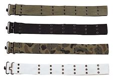 "Military Canvas Pistol Belts w/ Metal Buckles - Up to 42"" Adjustable G.I. Belt"