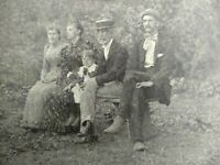 Antique Photograph, Family Sitting on a Bench, Early 1900's