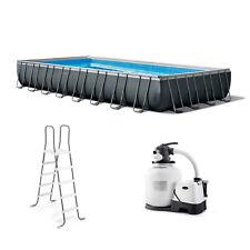 "Intex 32' x 16' x 52"" Ultra Xtr Rectangular Outdoor Swimming Pool Set with Pump"