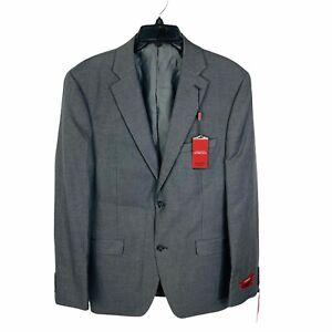 HUGO BOSS Henry Slim-Fit Stretch Wool Plaid Sport Coat Suit Jacket 44R Grey Red