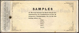 US Revenue Stamps: Revenue-Stamped Check Sample Booklet (1870s), Extremely Rare