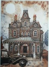 ORIGINAL ARTWORK PRINT HAUNTED HOUSE HEARSE ADDAMS FAMILY MOVE SIGNED A4 PRINT