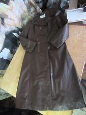 GINO LEATHERS vtg 70s brown SPY JACKET long trench coat Women 10-12  FULL LENGTH