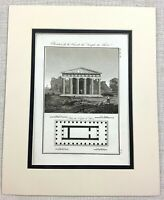 1821 Antique Engraving Temple of Hephaestus Greece Ancient Greek Architectural
