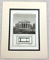 1821 Antique Engraving Temple of Hephaestus Greece Ancient Greek Architectural