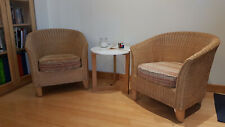 Pair of Natural Wicker  Rattan Tub Chairs
