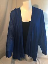 NWT $79 Chico's Cardigan Sweater Majestic Blue Open Sz 3 XL