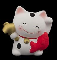 Hucha Gato Japonés 10.5cm & Su Poisson Manekineko Fabricado en Japón Blanco