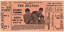 1  BEATLES VINTAGE UNUSED FULL CONCERT TICKET 1965 Atlanta, GA orange laminated