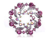 Hot Gift Pink Flower Abstract Crystal Rhinestone Fashion Pin Brooch Party Gifts