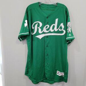 Majestic Authentic FLEX BASE Cincinnati Reds St. Patricks Day Green Jersey 48 XL