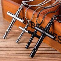 Unisex's Men Stainless Steel Cross Whistle Pendant Necklace Chain Silver/Black
