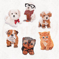 Embroidered Pet Dog Patches Sew Iron On Badge Hat Bag Clothes Applique Craft