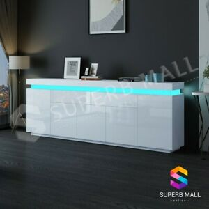 Buffet Table Sideboard Cabinet Gloss Storage 5 Doors 2 Drawers w/RGB LED White