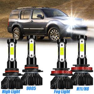 For Nissan Pathfinder 2013 2014-2016 4X LED Headlight High+Fog Light Bulbs 6000K
