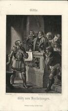 Stampa antica GOETHE GOTHE Gotz von Berlichingen 1860 Antique print Alte stich