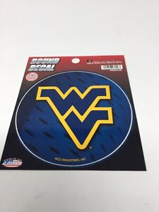 """Lot Of 2 ~ WVU West Virginia Mountaineers College Round Decal Stickers 4.5"""" New"""