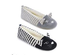 af213ce27974 Ladies Girls Novelty Cat Slippers Ballerina Bally Stripe Black Grey Size 3  - 8