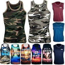 Mens Vest Sleeveless Tank Top Summer Training SLIM Gym Ribbed BodyBuilding Vests