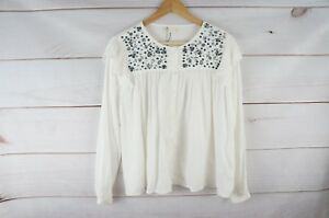 New Zara Girls 13 14 White Sequin Button Blouse Long Sleeve Embellished