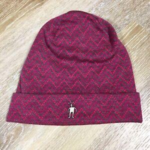 Smartwool Cap Beanie 100% Merino Wool Magenta Pink Grey Winter Hat One Size