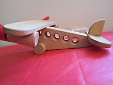 Wooden Airplane Model Wood Toy with Solar Energy Panels  Folk Art/ Play