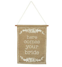 Wedding Day Decor, Here Comes Your Bride Rustic Burlap Wedding Banner Sign, Nwt