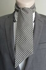 GREY/TAUPE NECK TIE SCARF NECKERCHIEF SLIM VINTAGE STYLE POLKA DOT MOD RETRO