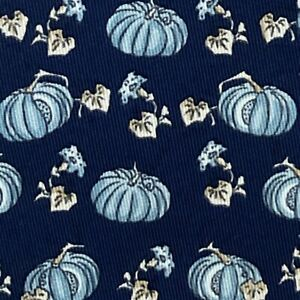 HERMES TIE ~ NAVY BLUE w/ FUN WHITE PUMPKINS MELONS FALL WINTER MOTIF