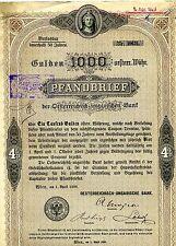 Lote de x5 cinco Austria 1893 Pfandbrief 1000 Gulden certificados de acciones