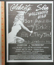 CELEBRITY SKIN Hollywood High 1991 PUNK Concert Flyer NO DOUBT Tiny Tim DICKIES