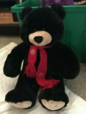 17' build a bear BLACK PLUSH BEAR W RED WINTER SCARF