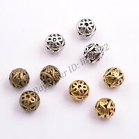 Tibetan Silver Round Metal Carved Flower Hollow Spacer Beads For Jewellry Z2999