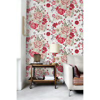 Pale Roses Red Flowers Removable Colorful Botanical Artwork Wallpaper wall mural