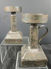 Vintage Gothic Art Metal Candle Holders Signed Ken Silvestri