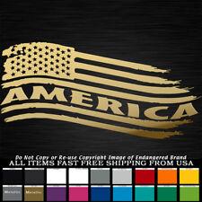 America USA Tattered Flag Left down Stars & Stripes sticker decal