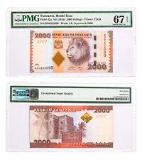 (2010) Tanzania Benki Kuu 2000S Note Pick#42a PMG Superb Gem Unc 67 EPQ SKU47856