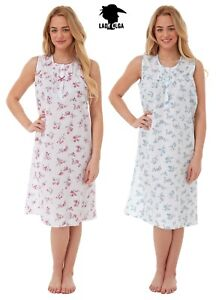 Plus size Sleeveless Floral Nightie Summer Nightdress Pink Blue Sizes 10-32
