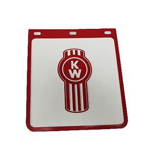 Kenworth White/Red Ute Mudflaps 230x250mm (Single); Mud Flap; Mudflap; 4x4; 4WD