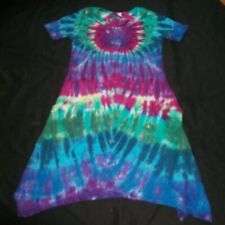 Tie Dye Woman's Short Sleeve Curvy Pocket Dress Large Peacock Tye Dyed