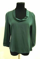 Elie Tahari Forest Green Silk 3/4 Opening Sleeve Blouse Size S