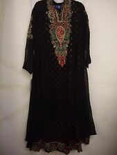 Rafia Black Georgette Anarkali Long Dress Churidar Suit & Scarf Size M BNIP