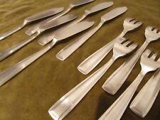 5 couverts à poisson 11p métal argenté art deco BB (fish forks & knives) tb