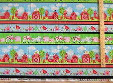 Happy Farm Stripe  Cow Farm  Pig Chicken Fabric by the 1/2 Yd #8846