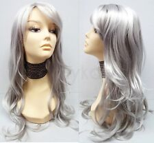 Silver Gray Long Straight Wavy Wig w/ Bangs Synthetic Cosplay Anime Costume 26""