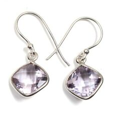 925 Sterling Solid silver Lovely Amethyst Cushion Gemstone Girls Earring C-7462