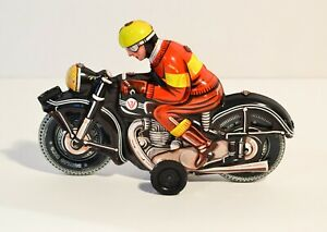 Red Yellow Black Motorcyclist Made in West Germany Motorcyle Tin Litho JW Toys