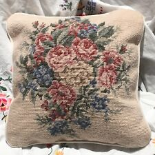 Vintage Laura Ashley Needlepoint Pillow Floral Tan Beige Pink Green