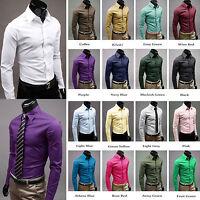 Mens Boys Luxury Slim Skinny Fit Shirt Smart Formal Casual Suit Dress Tee Shirts